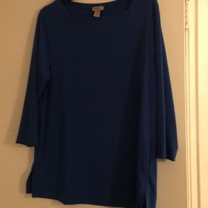 Bright Blue Square Neck Top. SZ 2 Chico's